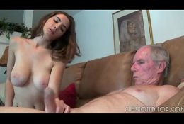Hot Brunette With Great Tits Handjobs An Old Cock